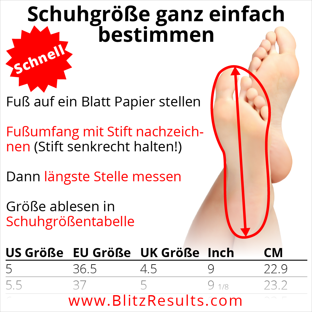Schuhgroesse in Schuhgroessentabelle finden