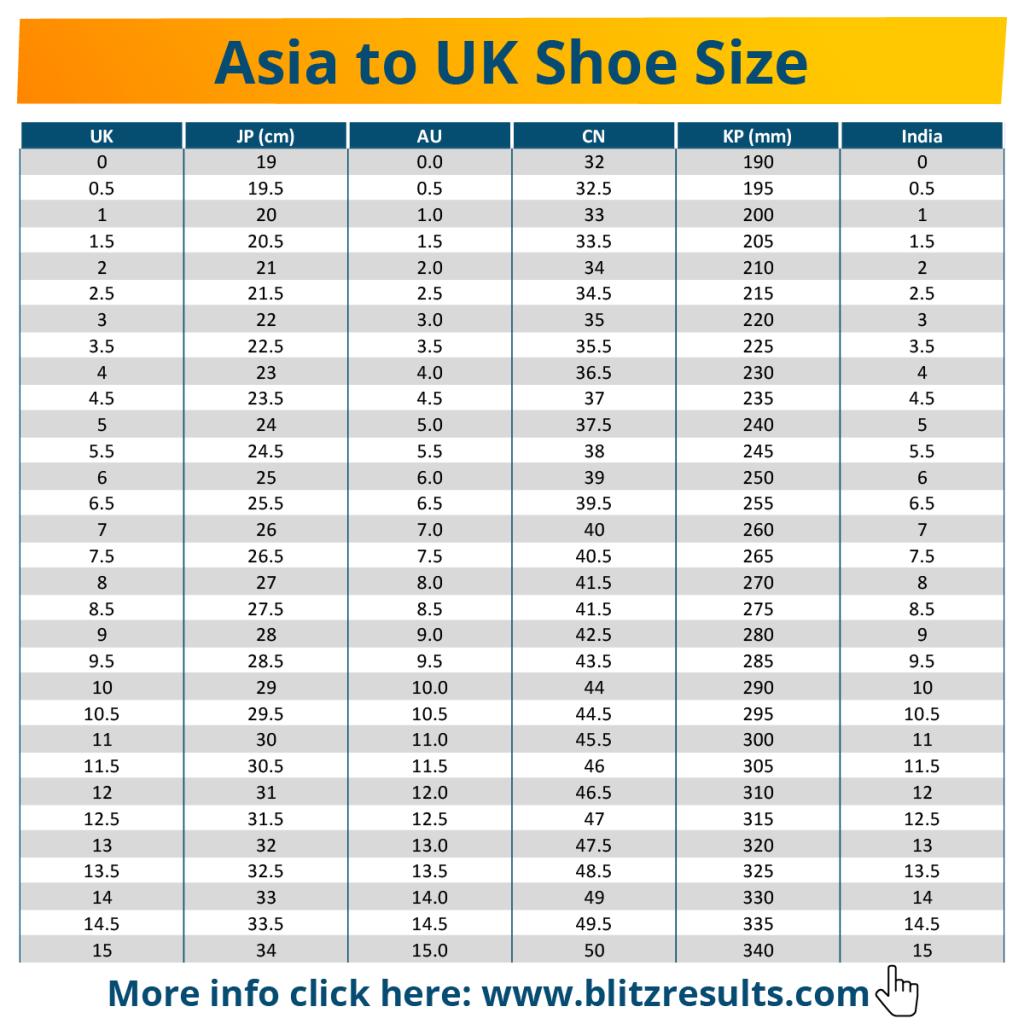 Asia to UK Shoe Size