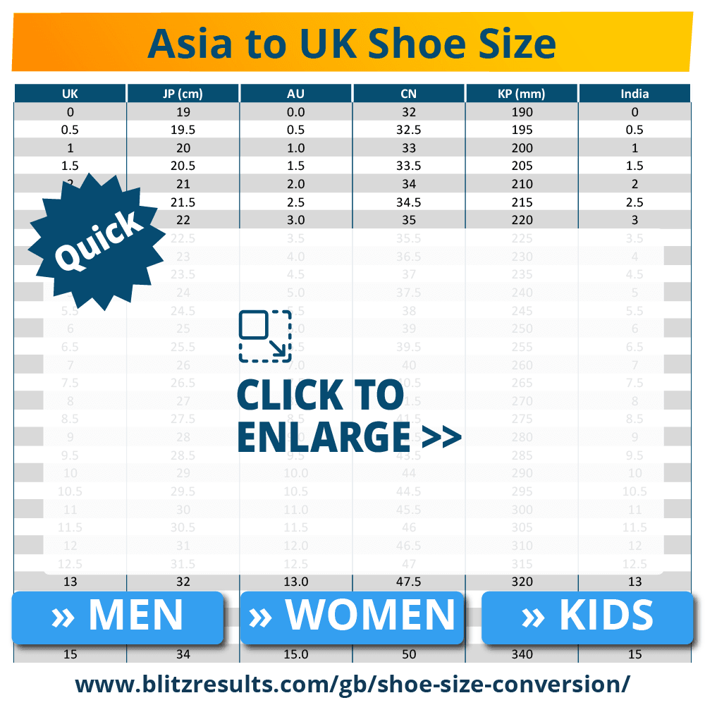 Shoe Size Conversion Charts | UK to US, EU to UK | Size