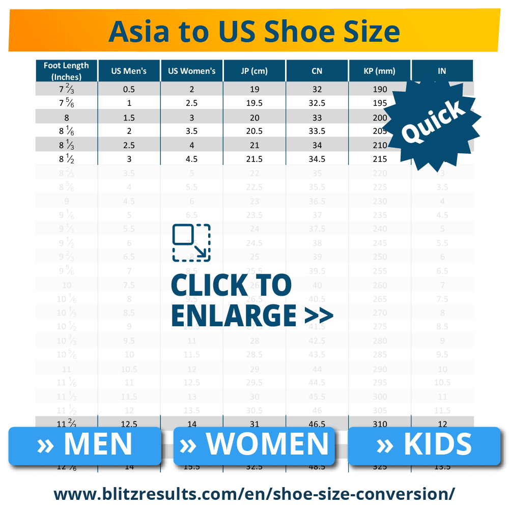 Asia to US Shoe Size