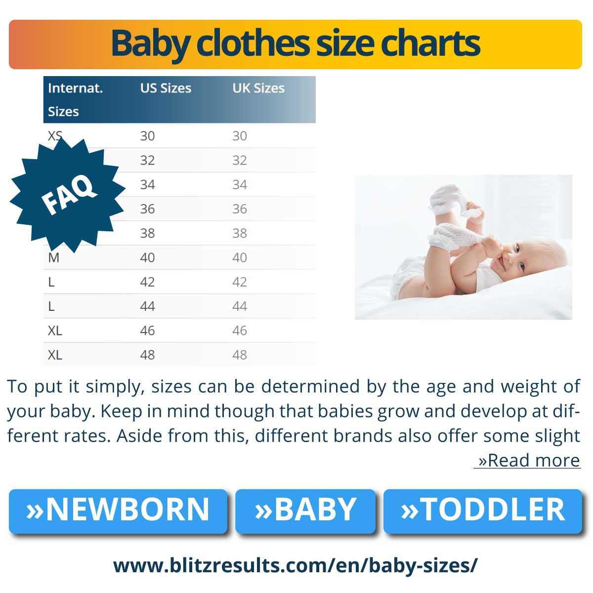Baby clothes size charts