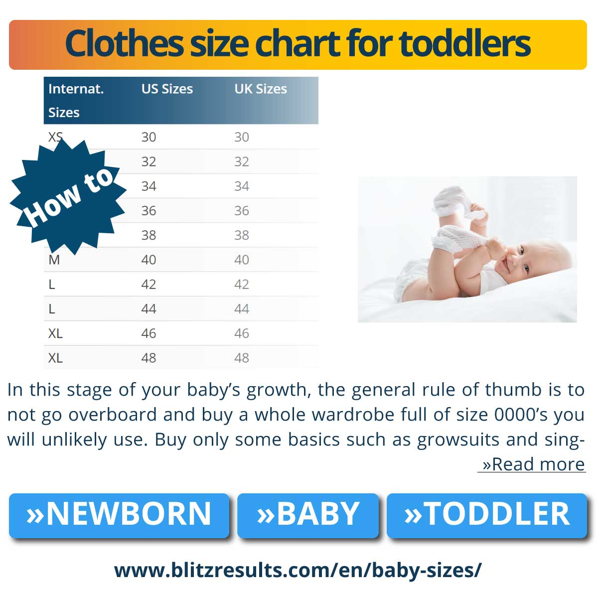 Clothes size chart for toddlers