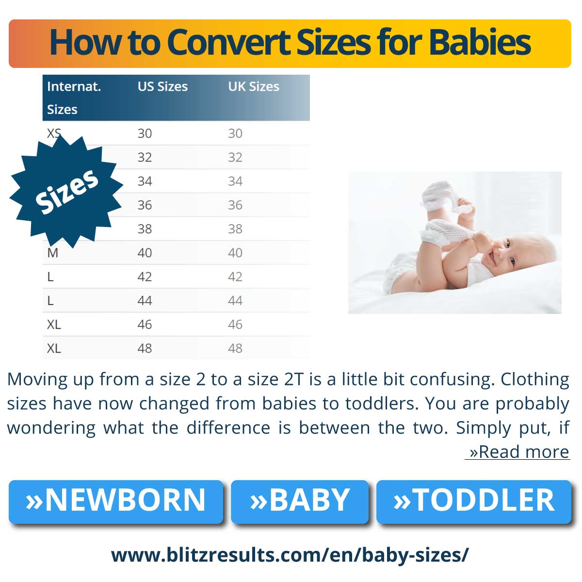How to Convert Sizes for Babies
