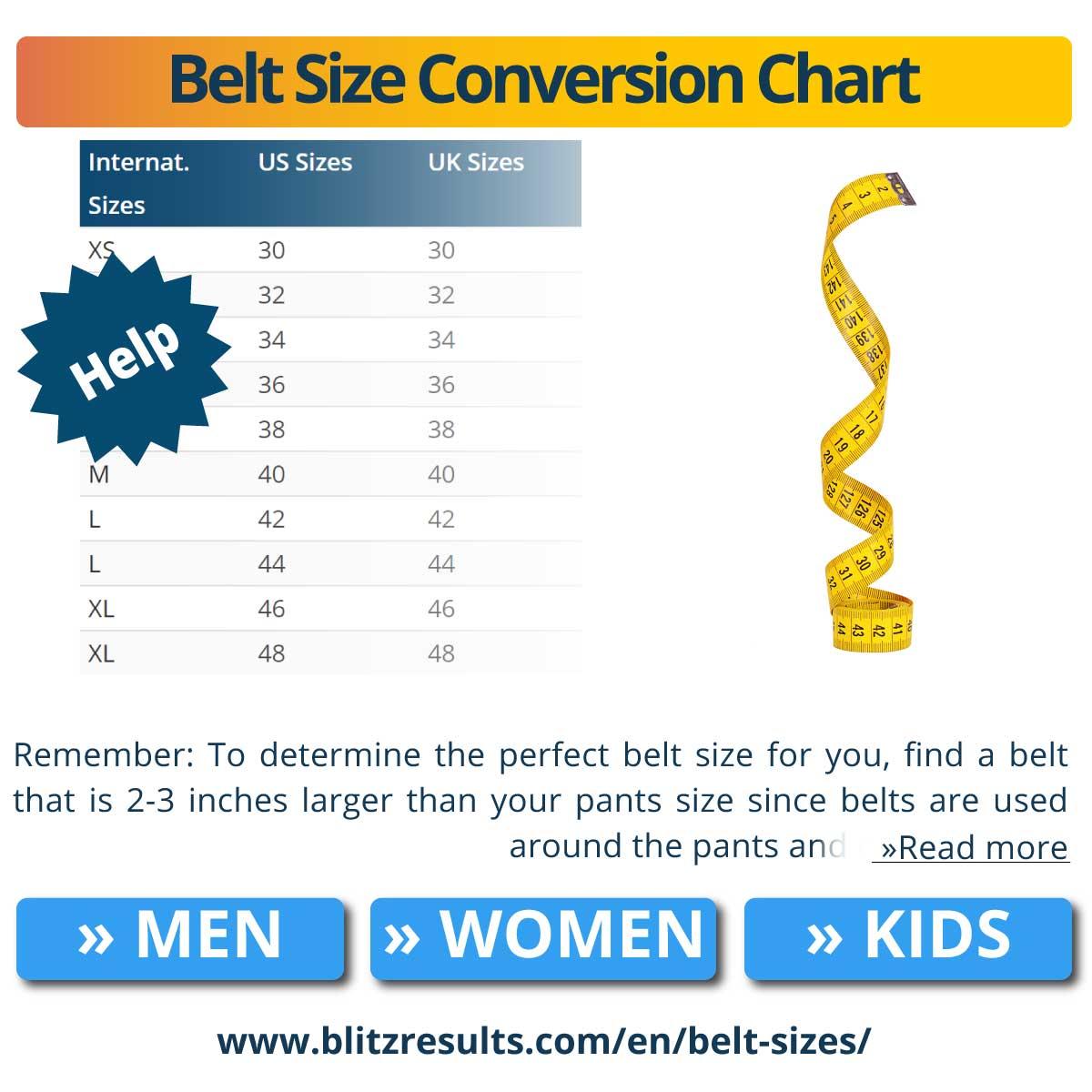 Belt Size Conversion Chart