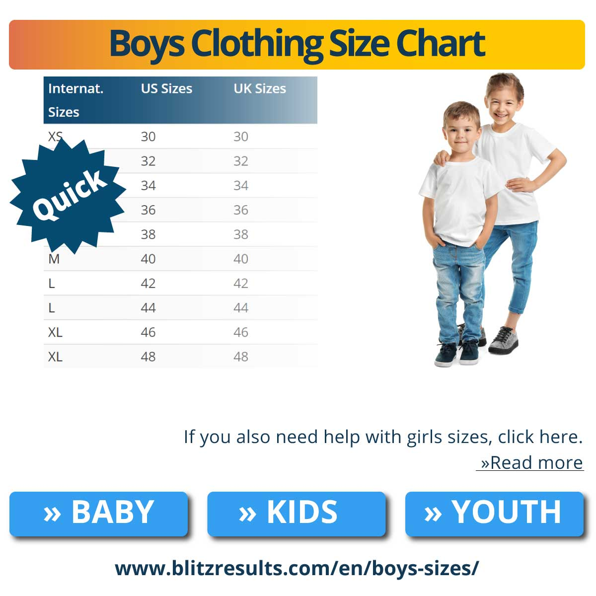 Boys Clothing Size Chart