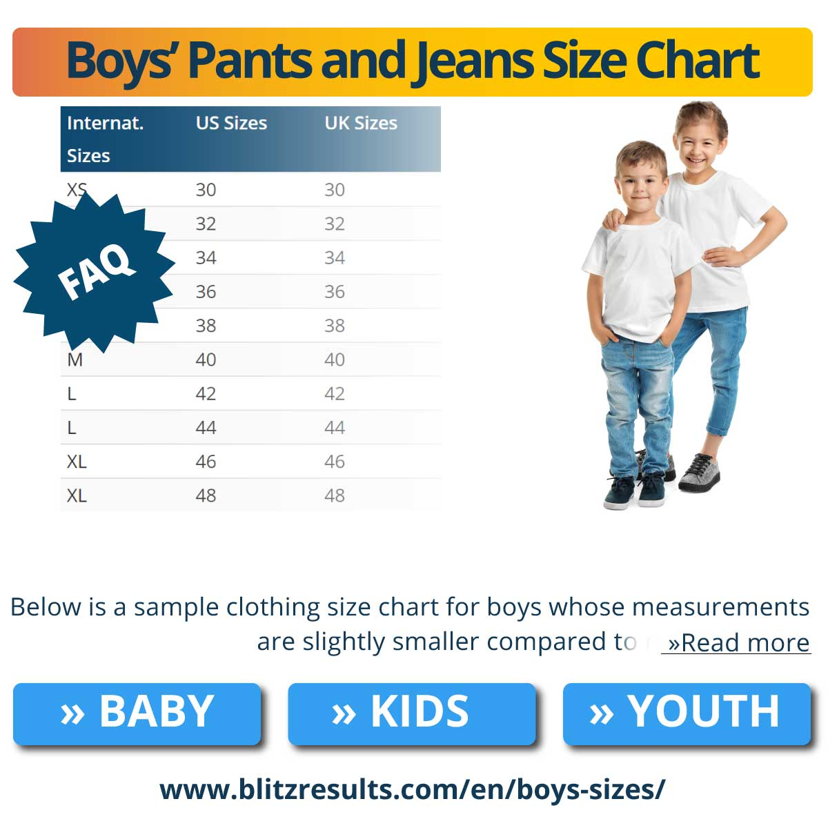 Boys' Pants and Jeans Size Chart