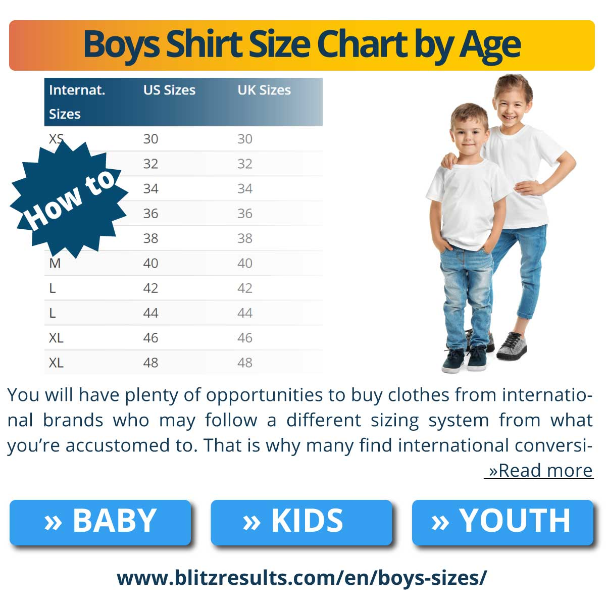 Boys Shirt Size Chart by Age