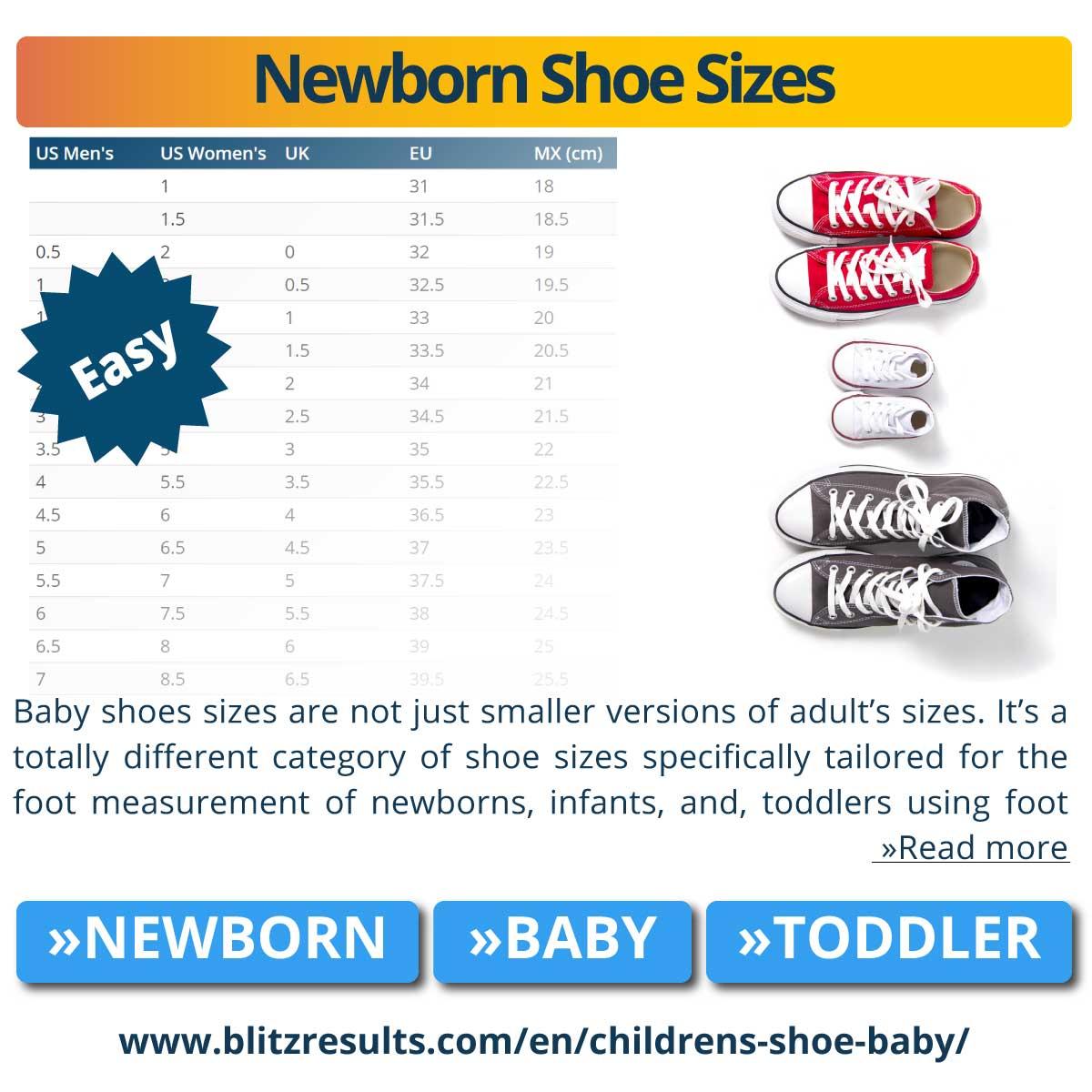Newborn Shoe Size Chart