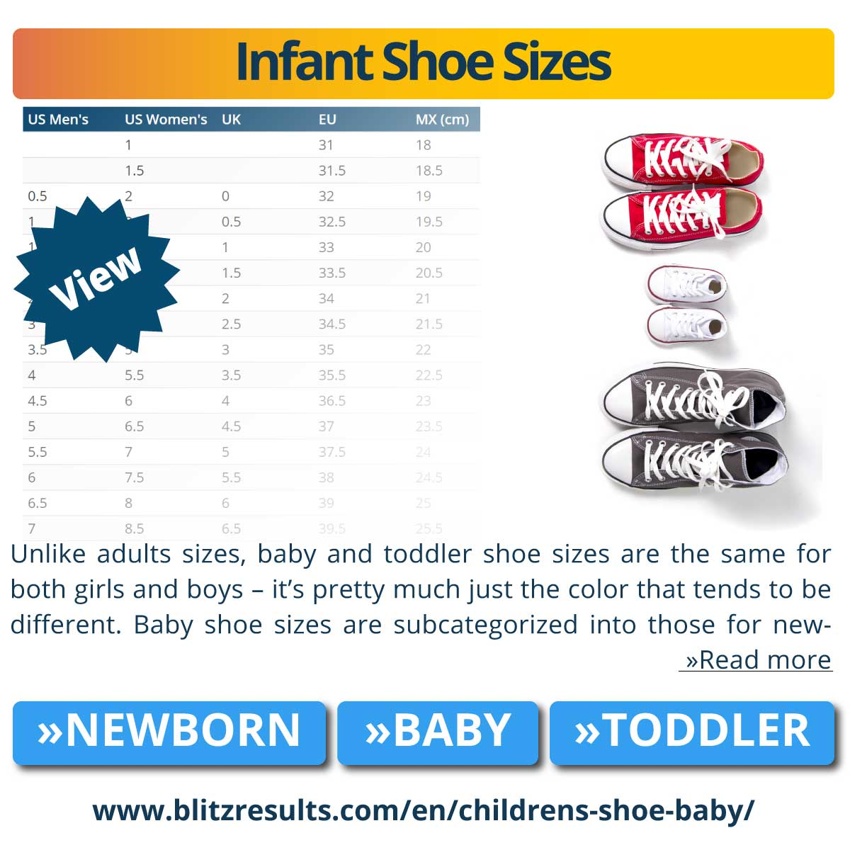 Infant Shoe Size Chart