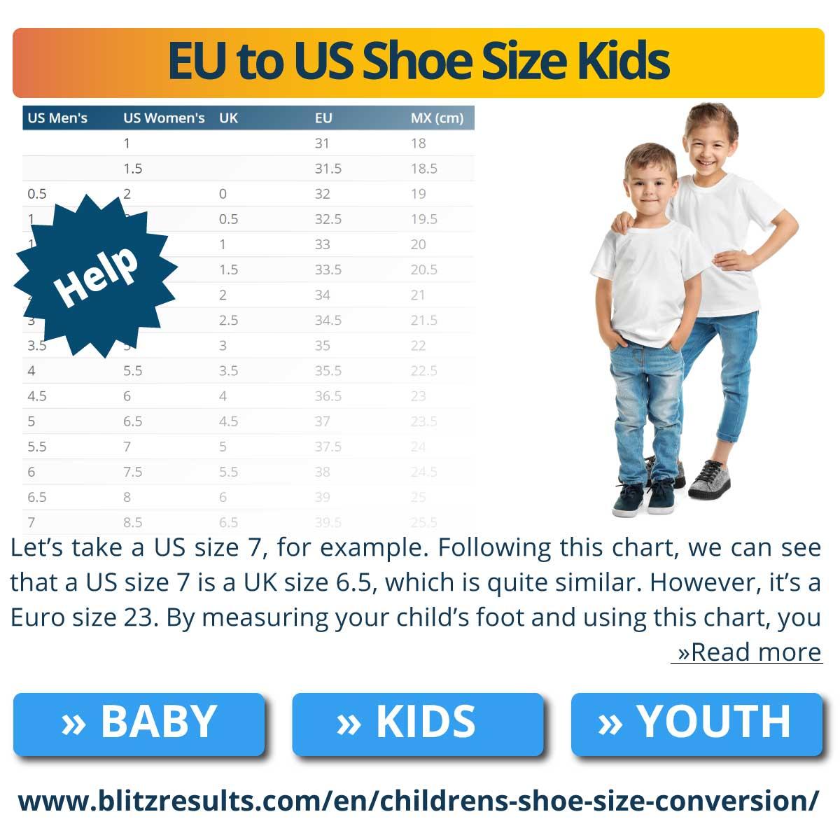 EU to US Shoe Size Kids