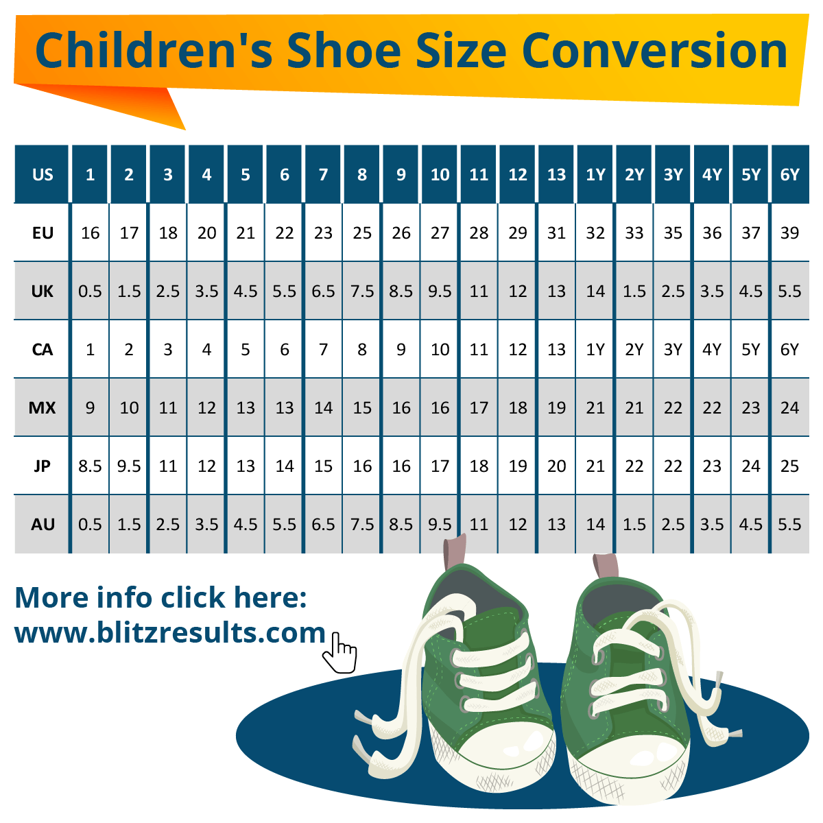kids shoe sizes conversion charts size by age how to measure