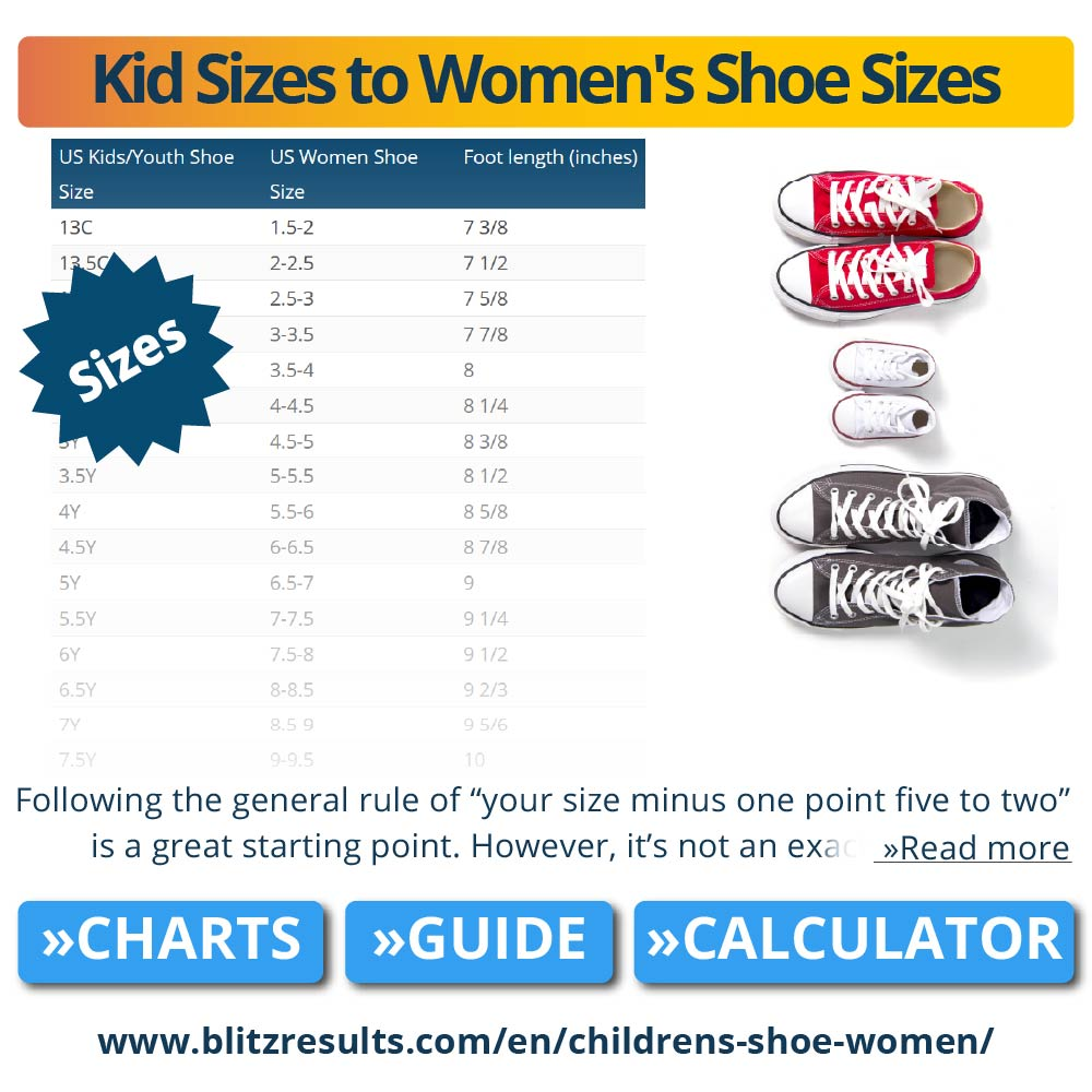 youth to women's shoe size