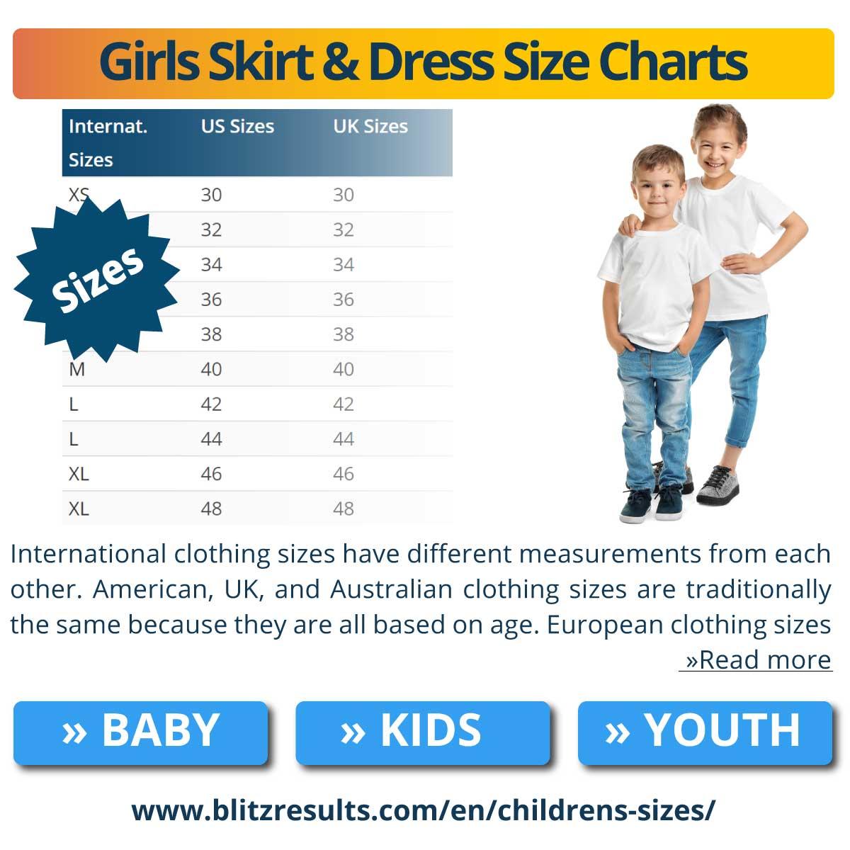 Girls Skirt & Dress Size Charts
