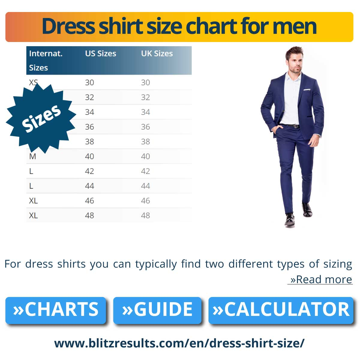 Dress shirt size chart for men
