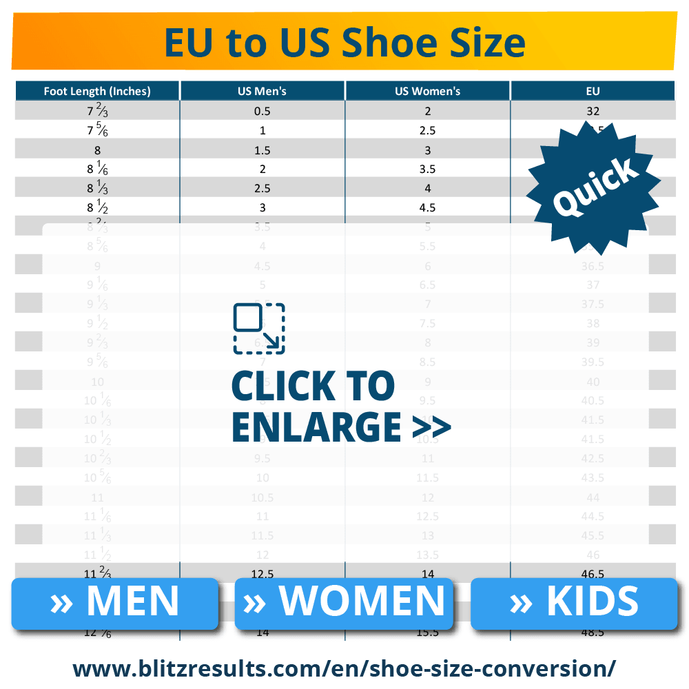 ᐅ EU to US Shoe Size Conversion Charts for Women, Men \u0026 Kids