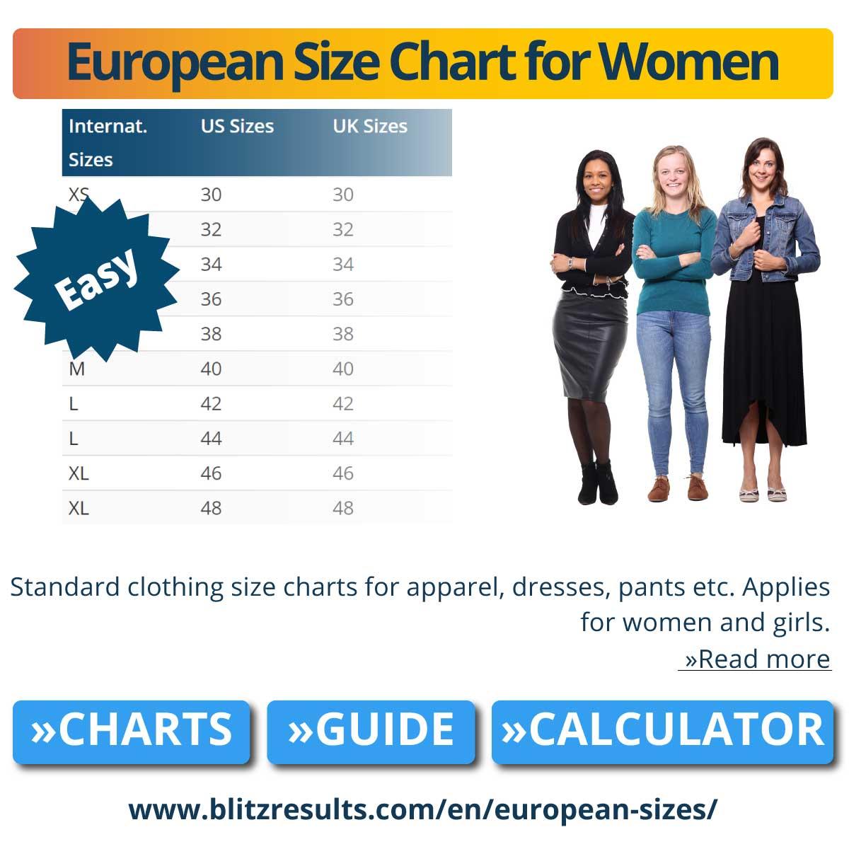 European Size Chart for Women