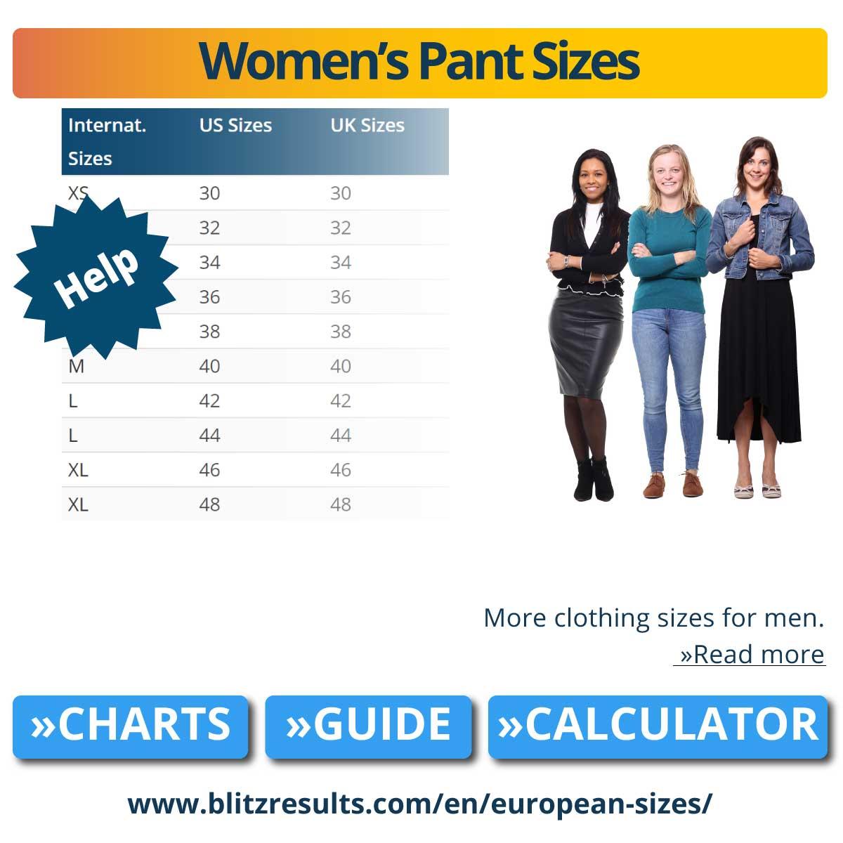 Women's Pant Sizes