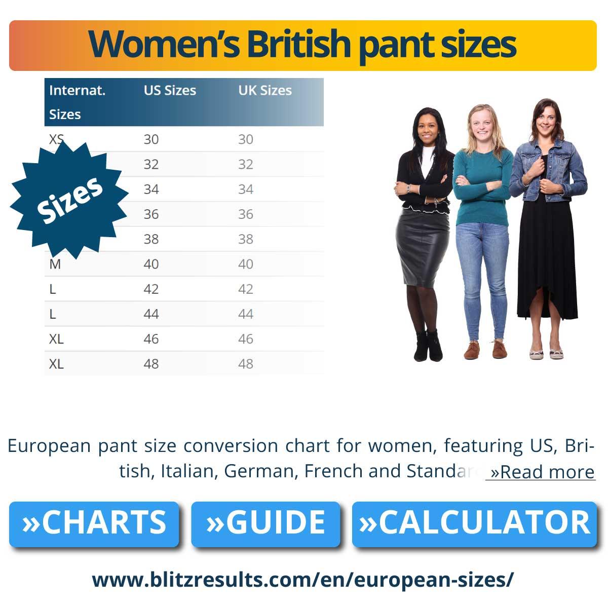 Women's British pant sizes