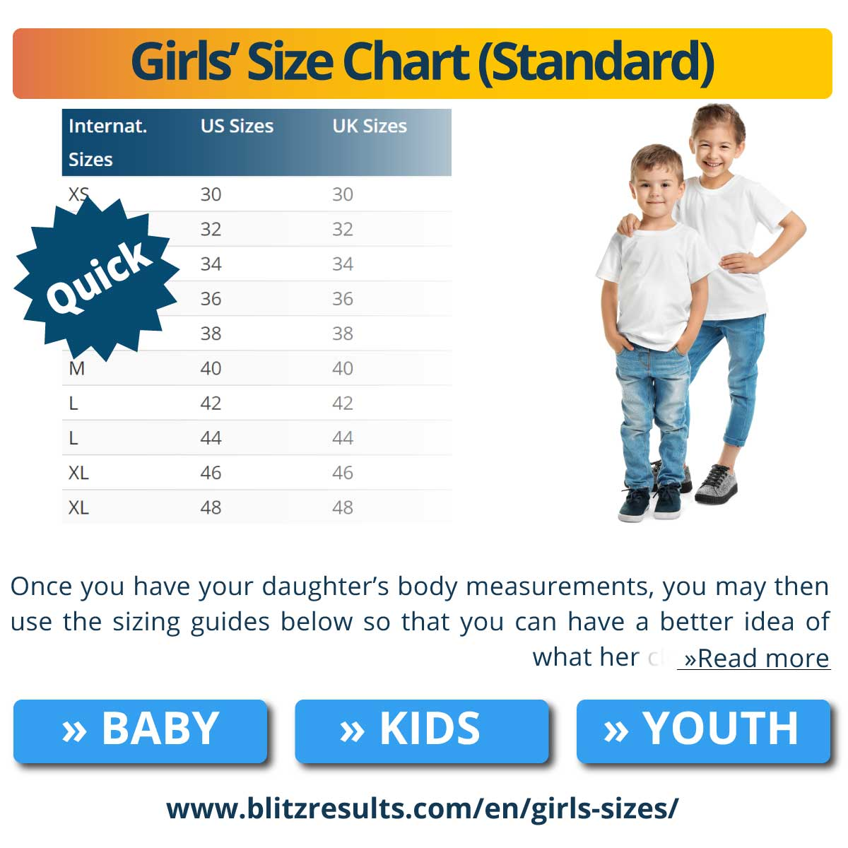 Girls' Size Chart (Standard)