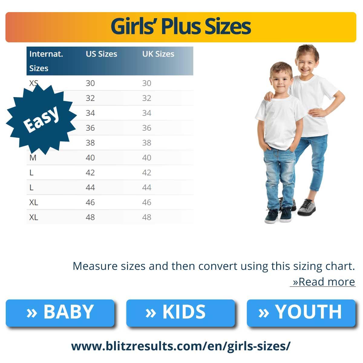 Girls' Plus Sizes