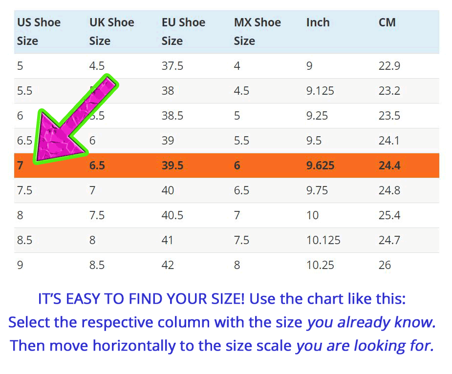 Please note: Shoe sizes can vary between different shoe brands and manufacturers, which means this size chart can never be correct for all shoes. But remember that many shoe brands also show shoe sizes in actual measurements (inches or cm).