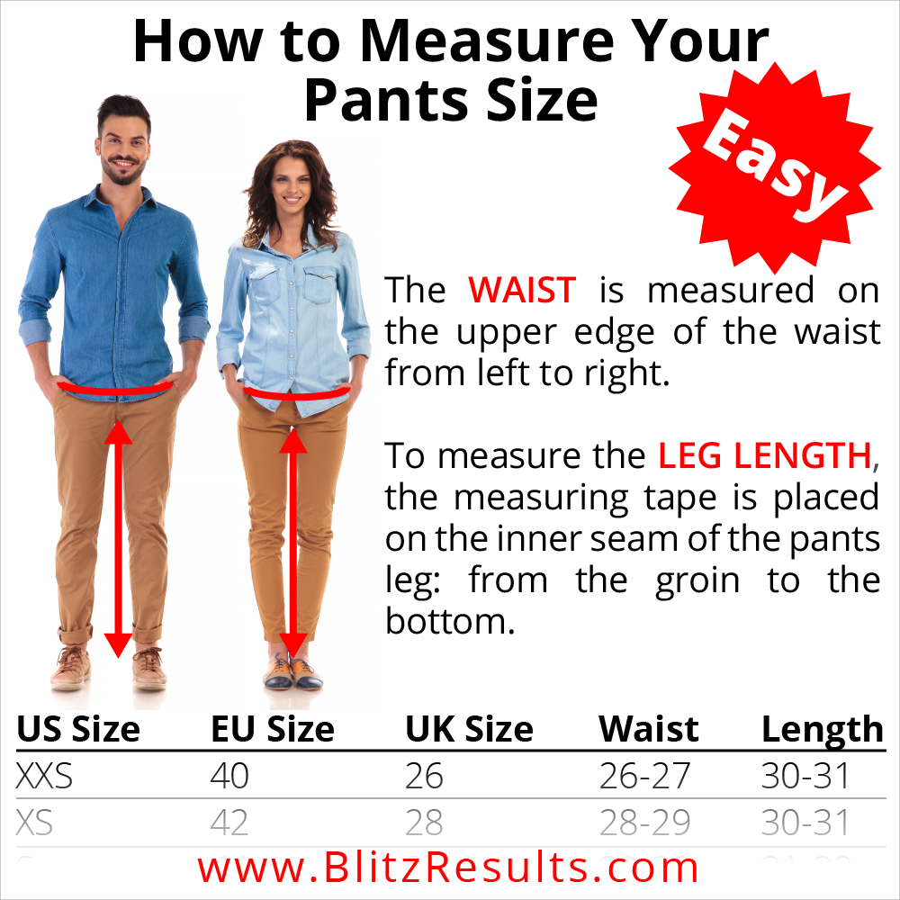 Trousers Size Chart And Trousers Size Conversion Men Women