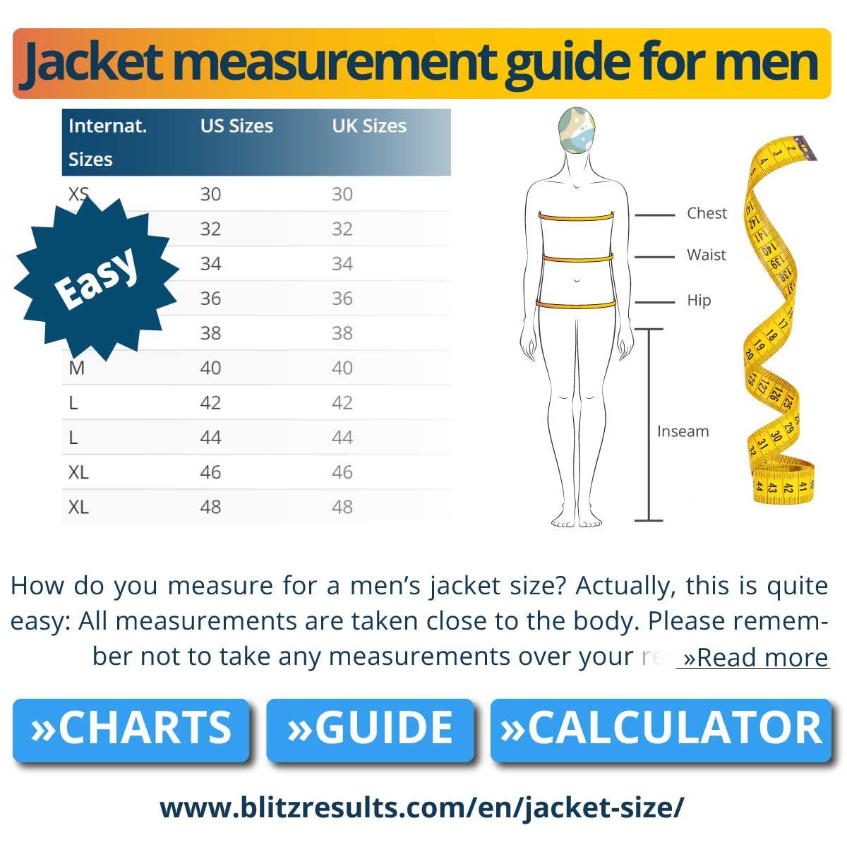 Jacket measurement guide for men