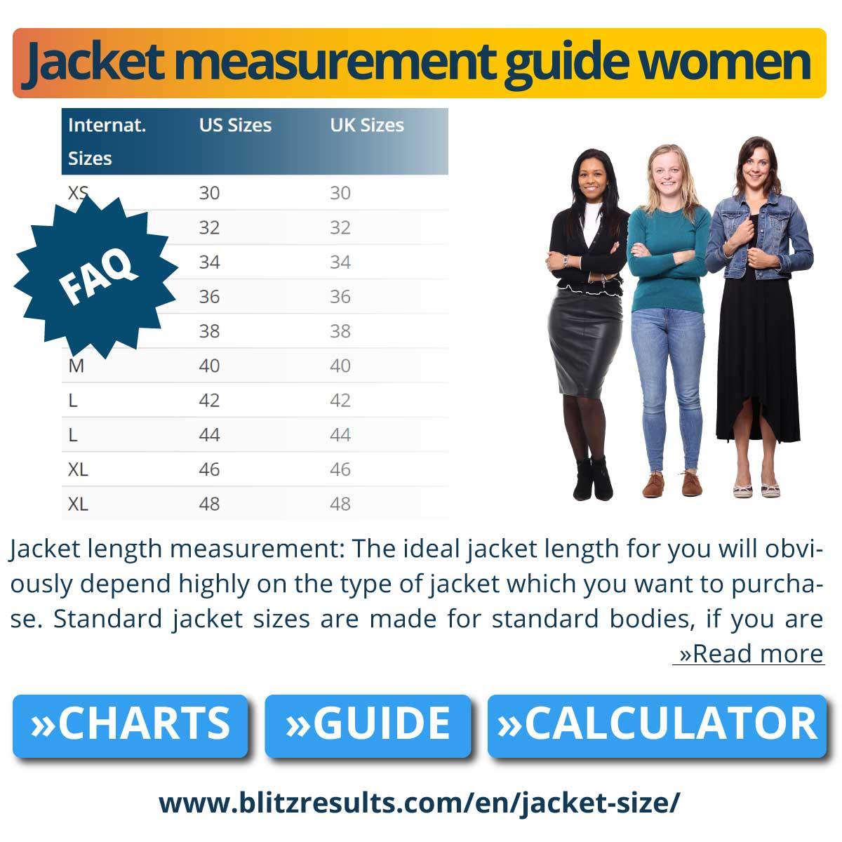 Jacket measurement guide women