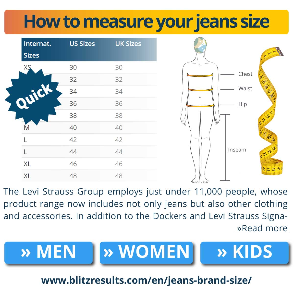 How to measure your jeans size