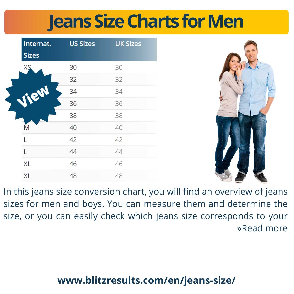 Jeans Size Charts for Men