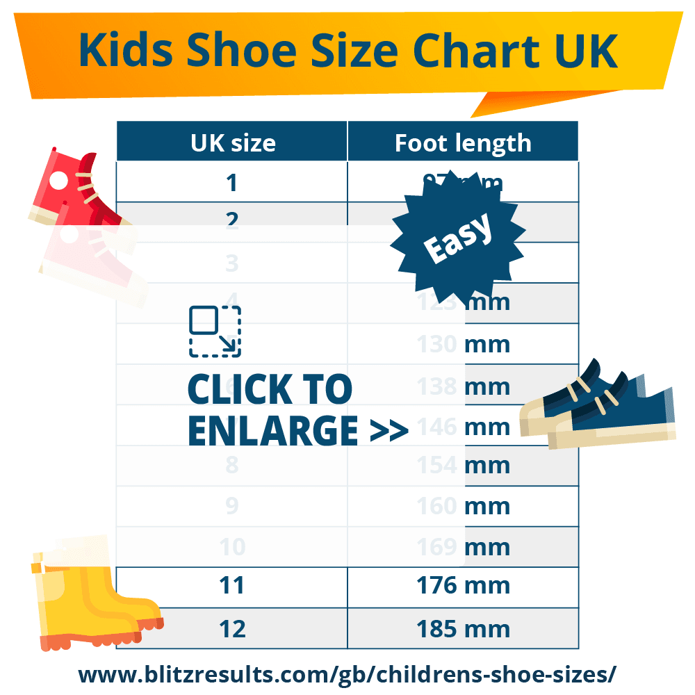 Kids Shoe Size Chart UK