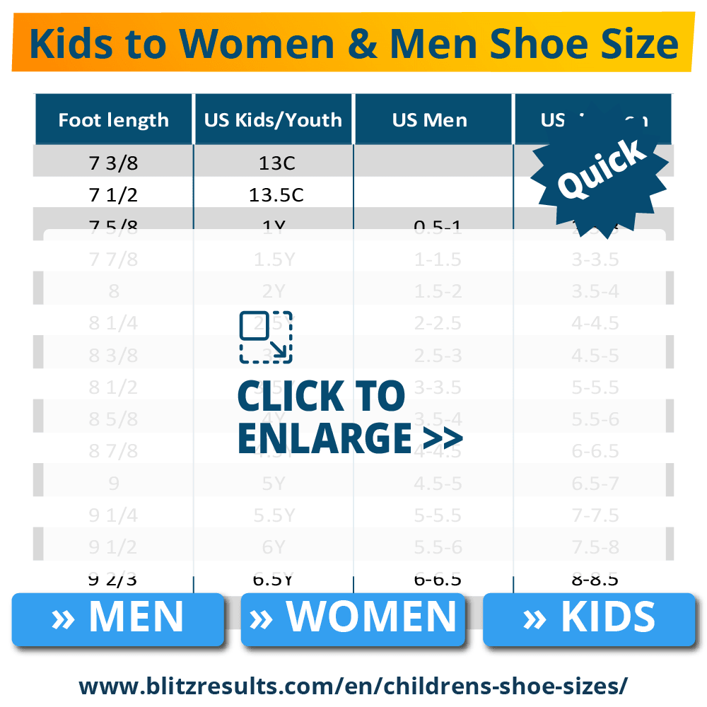 Kids to Women Shoe Size