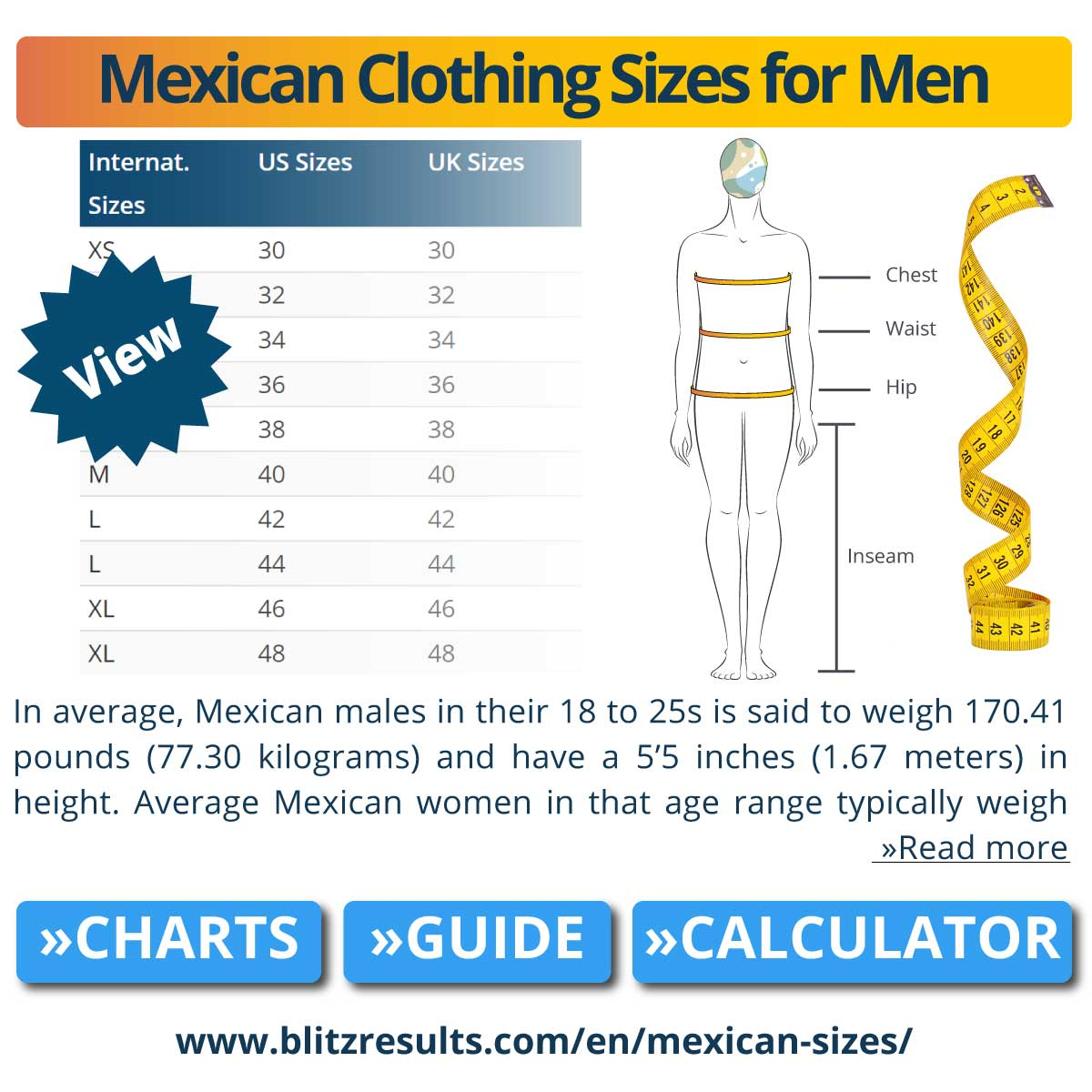 Mexican Clothing Sizes for Men
