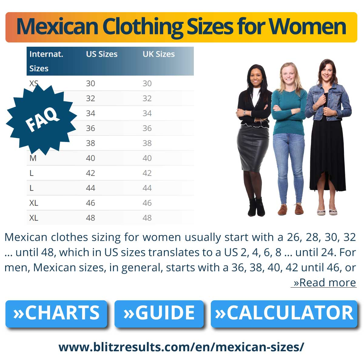 Mexican Clothing Sizes for Women