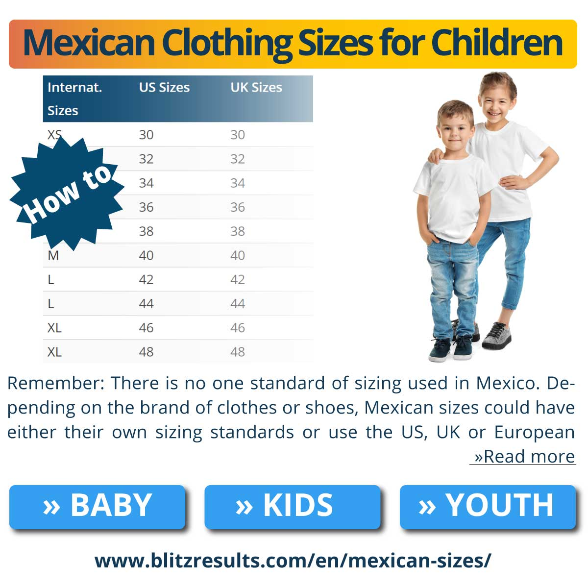 Mexican Clothing Sizes for Children