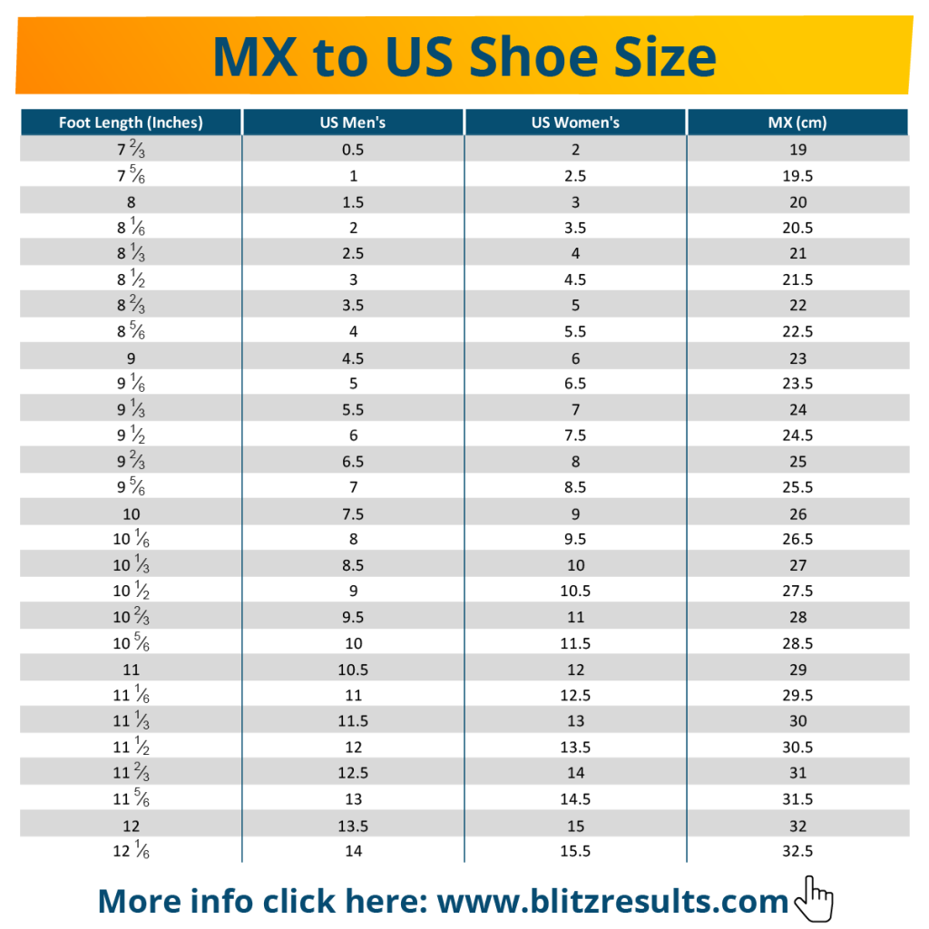 Mexican Sizes Shoes Clothes Us To Mx Conversion Charts
