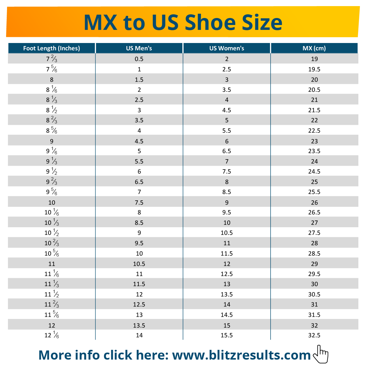 MX to US Shoe Size