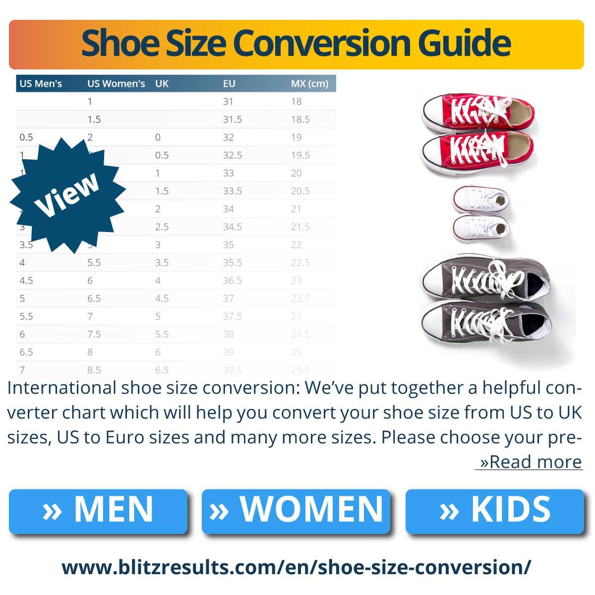 Shoe Size Conversion Guide