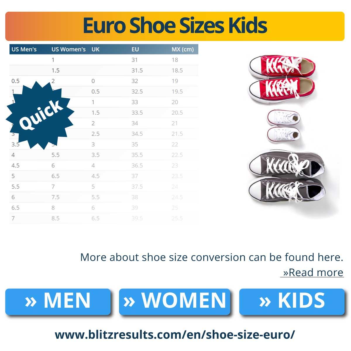 Euro Shoe Sizes Kids
