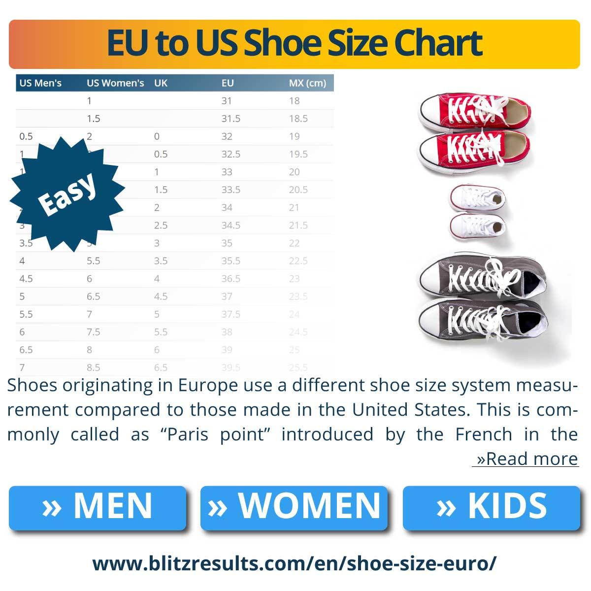 EU to US Shoe Size Chart