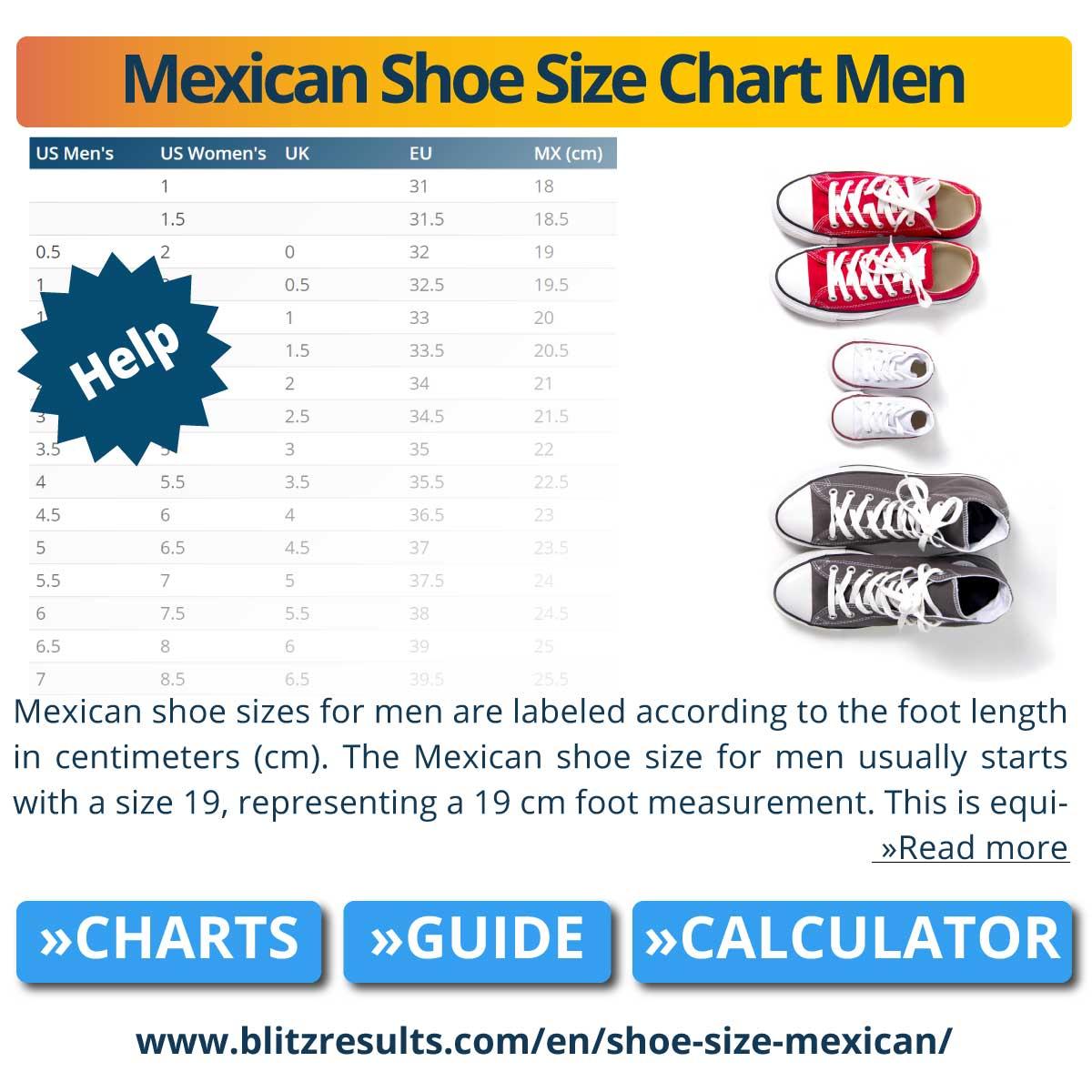 Mexican Shoe Size Chart Men