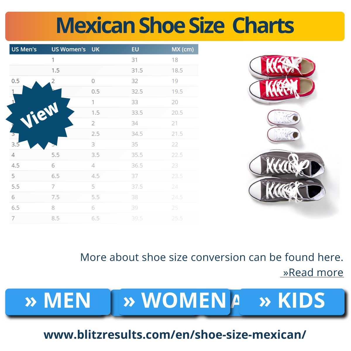 Mexican Shoe Size  Charts