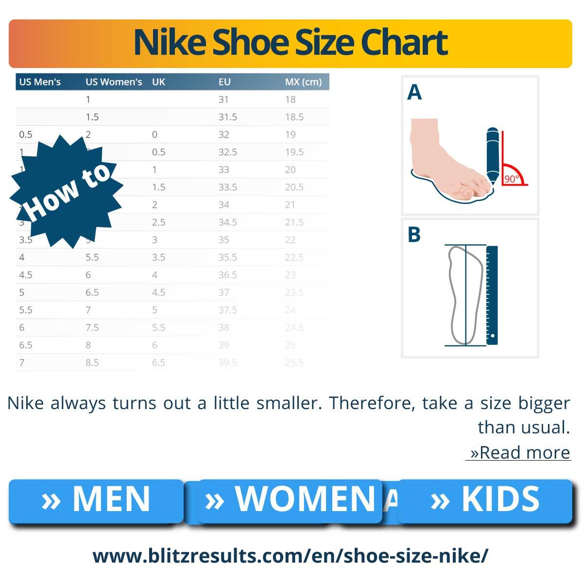 Nike Shoe Size Chart