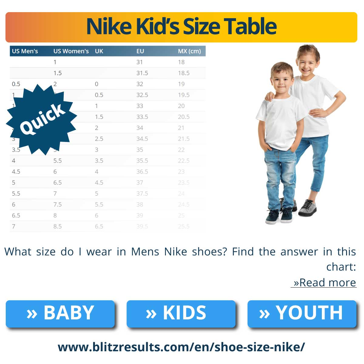 Nike Kid's Size Table