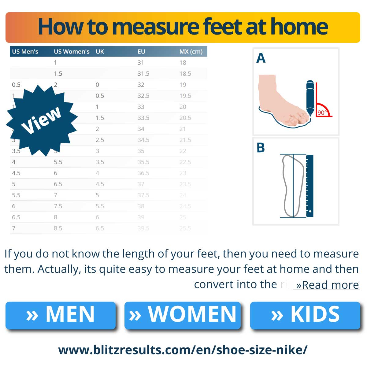 How to measure feet at home