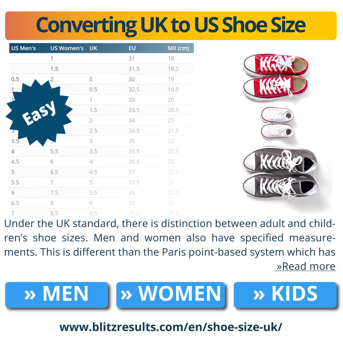 Converting UK to US Shoe Size