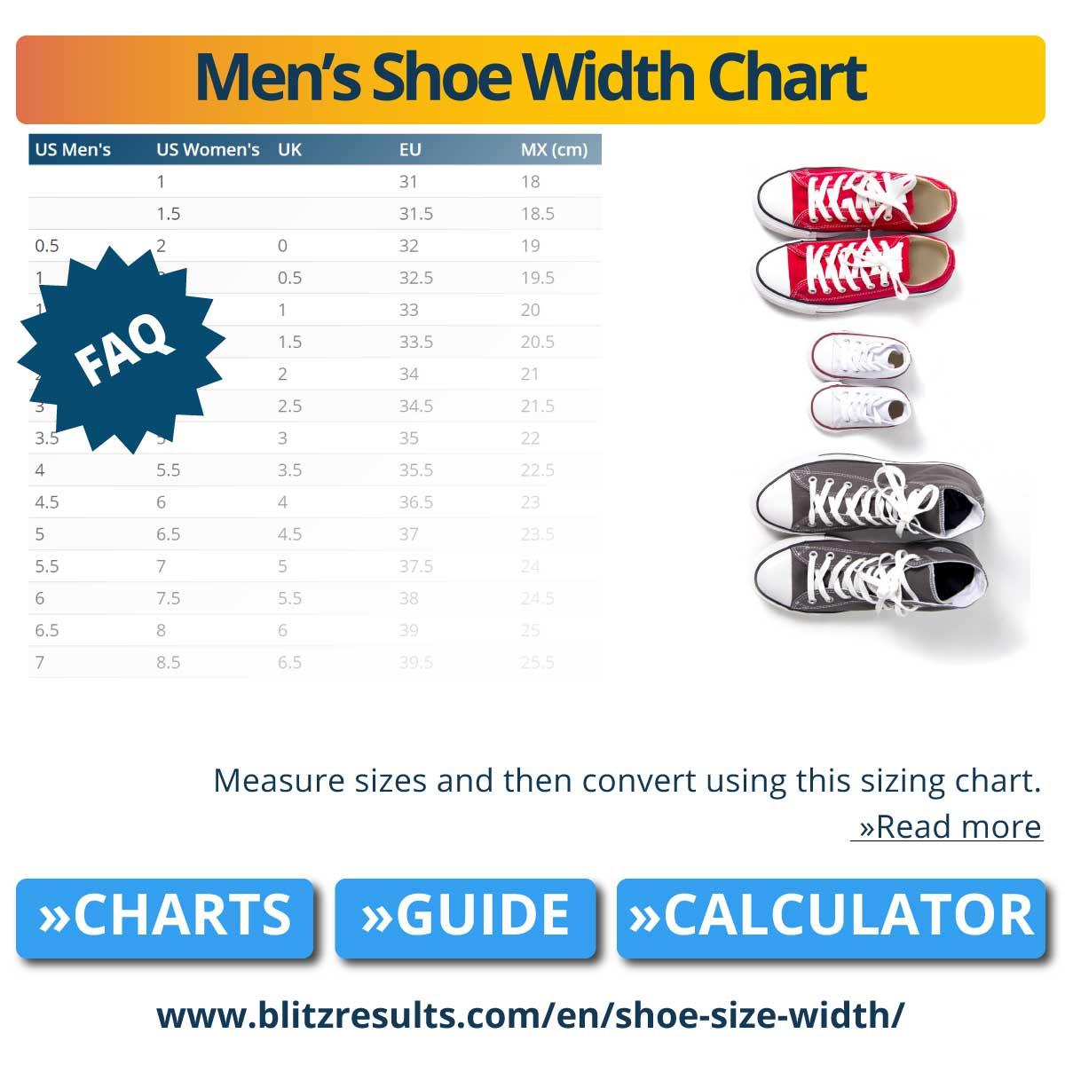 Men's Shoe Width Chart
