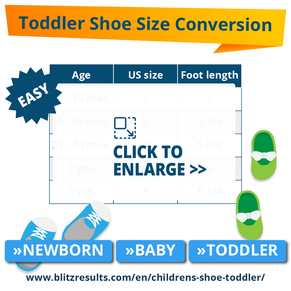 Toddler shoe size conversion