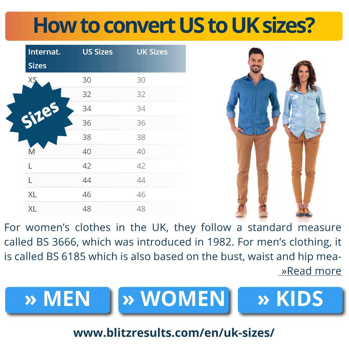 How to convert US to UK sizes?