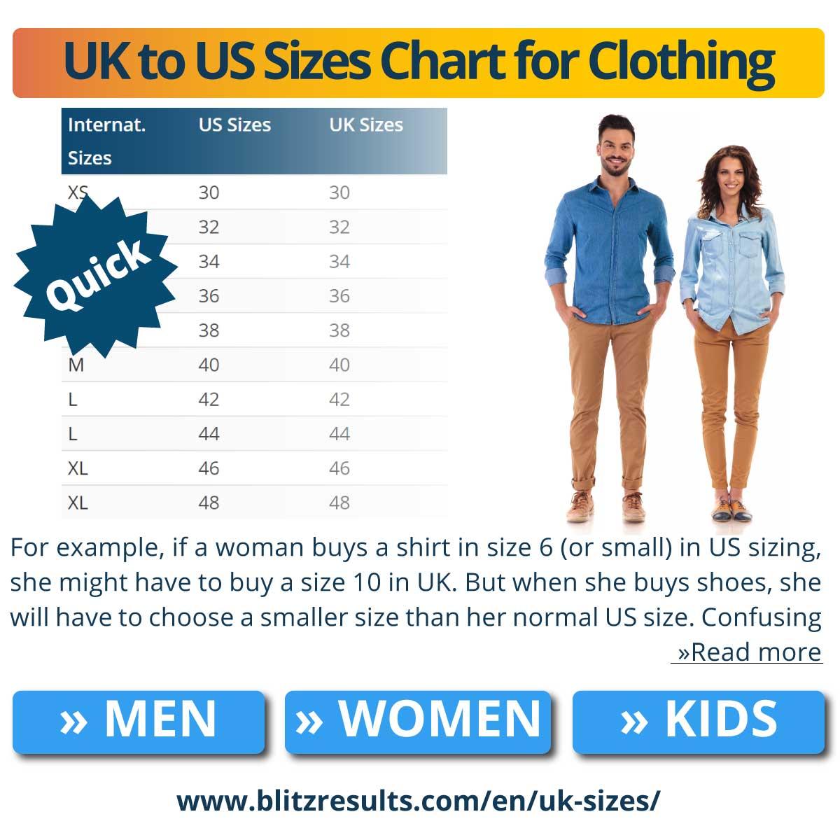 UK to US Sizes Chart for Clothing